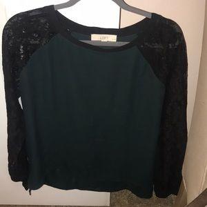 Gorgeous hunter green & black lace blouse/ Loft/LP